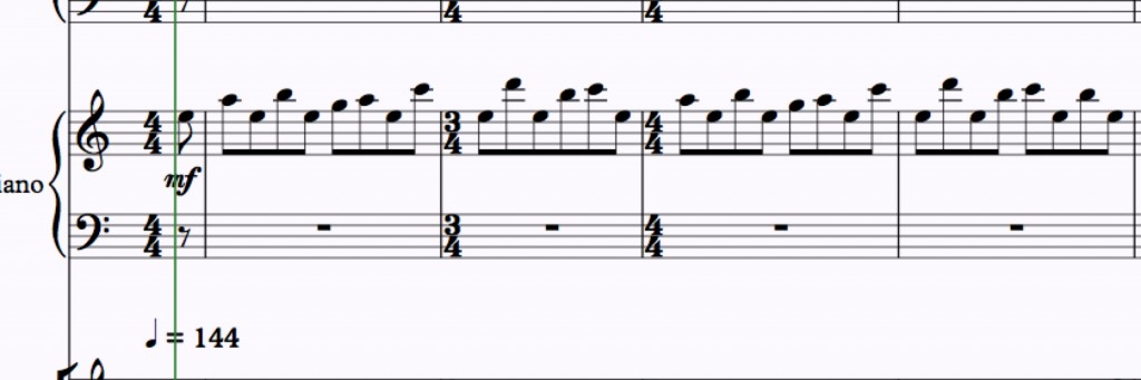 Tubular Bells basic pattern - note the semiquaver pickup.