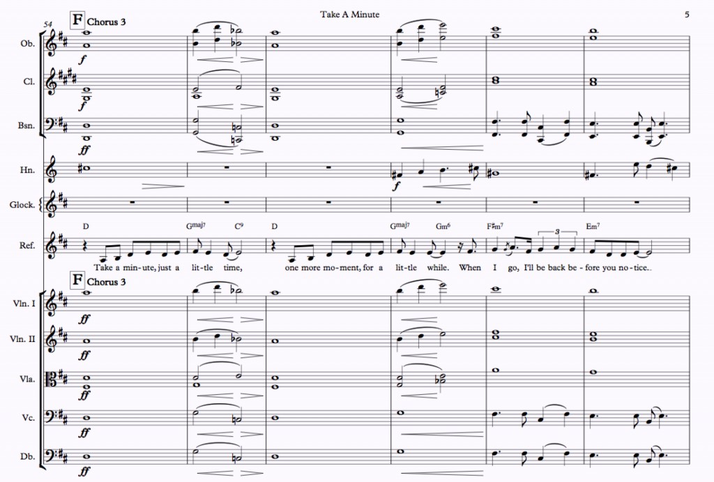 Soaring along with Sharon Corr. Here the string parts have been adjusted for concert performance, and doubled with winds for a full, lush sound. Note that oboes and clarinets are marked down a degree so as not to dominate the upper strings.