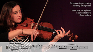 image of Sophia playing legato bowing covering full phrase