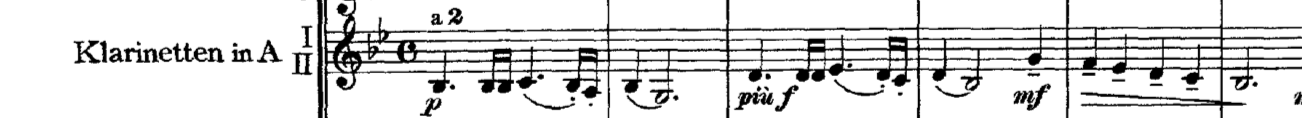 The famous opening solo for doubled clarinets in Movement 1 of Tchaikovsky's 5th Symphony. Here, the odd sound of doubled winds on a melody enhances a certain emotional quality in the music.
